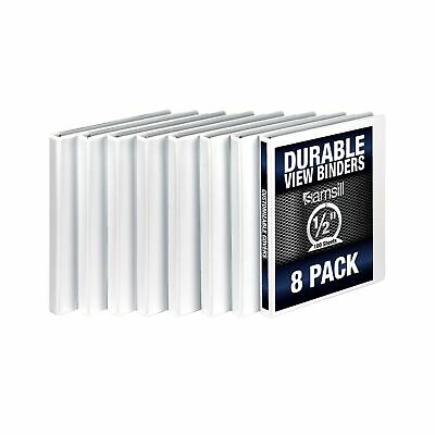Samsill 3 Ring Durable View Binders - 8 Pack 12 Inch Round Ring Non-stick...