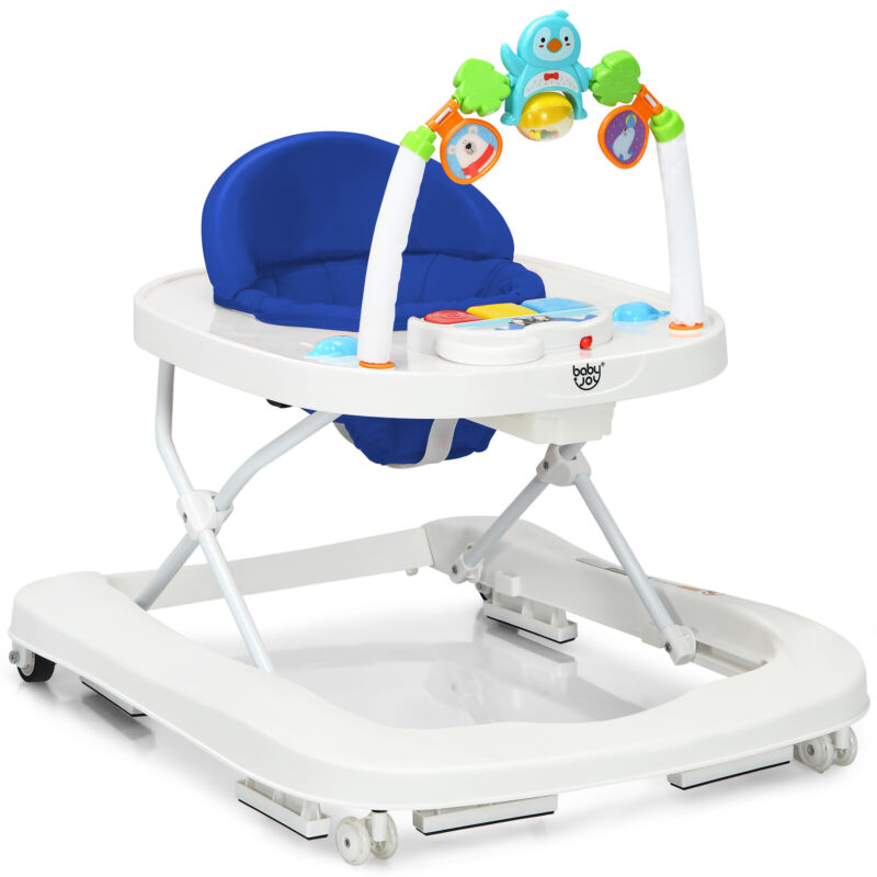 Babyjoy 2-in-1 Foldable Baby Walker w/ Adjustable Heights & Detachable Tray Blue