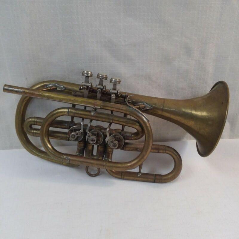 Russian Military B Flat Cornet Brass Horn Rotary Valve