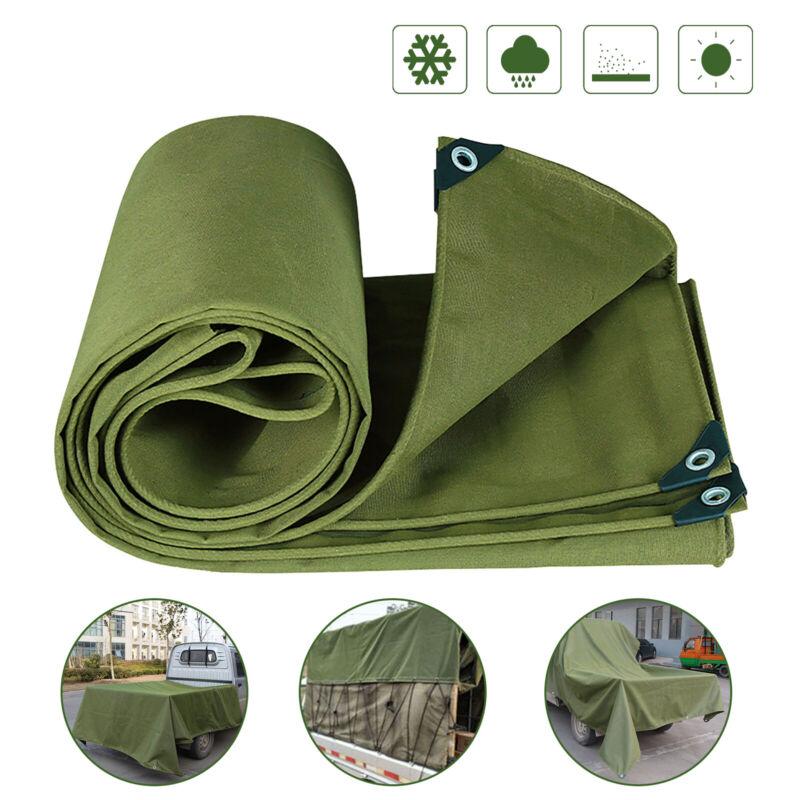 Heavy Duty Canvas Tarp Waterproof Ripstop Cotton Canopy Cover Mildew Resistant