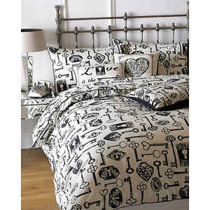style vintage housse de couette avec squelette c ur cl s orn cadenas noir ebay. Black Bedroom Furniture Sets. Home Design Ideas