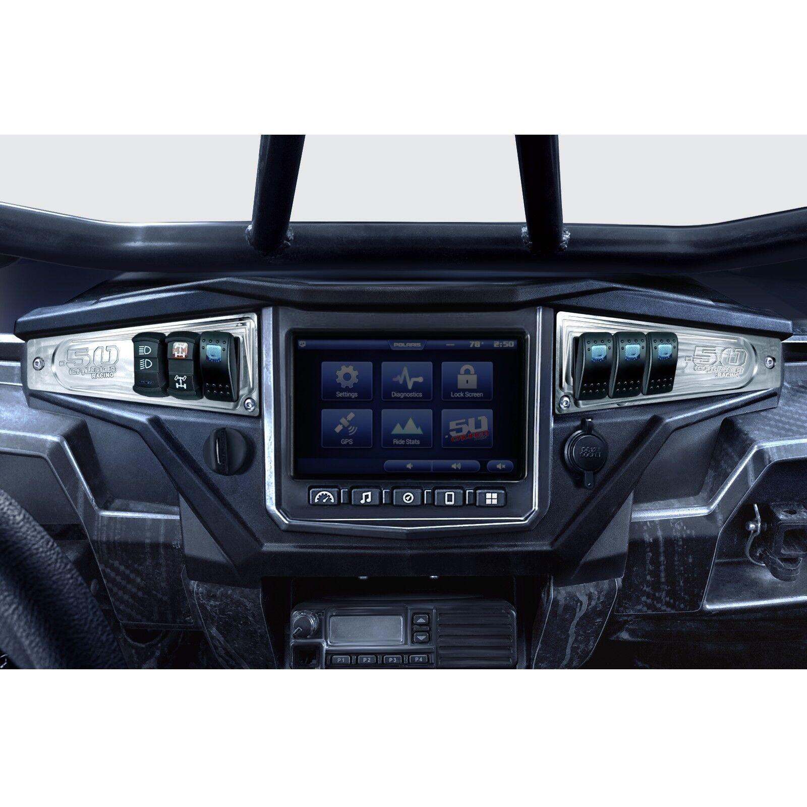 Dash Panel Aluminum Pair w/ (4) Illuminated Switch Raw fits Polaris RZR XP1000