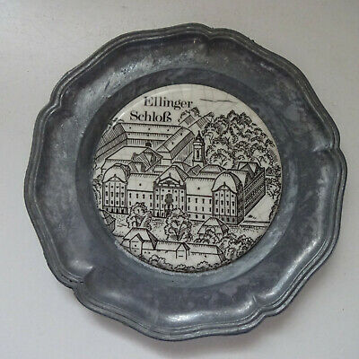 Plate Pewter Decorative Plate Approx. 11 CM Ellinger Castle