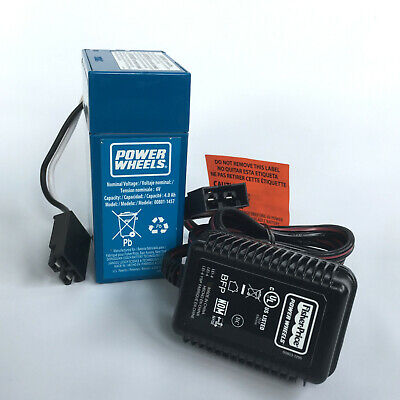 New Genuine Fisher Price Blue 6-Volt Power Wheels Replacement Battery & Charger