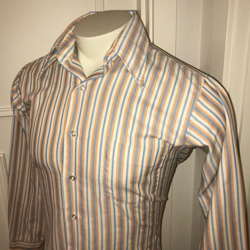 Vtg 60s 70s J PACKARD Shirtmakers Striped Mens LARGE Disco Button Dress Shirt L