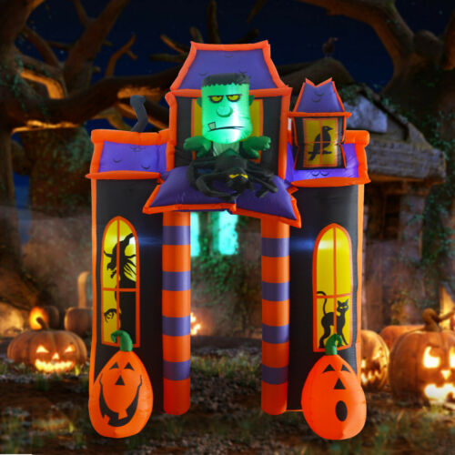 GOOSH 10FT Halloween Inflatable Outdoor Haunted House Archway Blow up Decoration