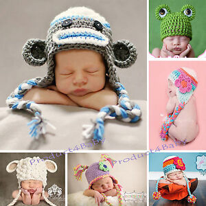 New-Baby-Boy-Girl-Crochet-Beanie-Costume-Hat-0-3-3-6-6-12M-1-3Yrs-Photo-Props