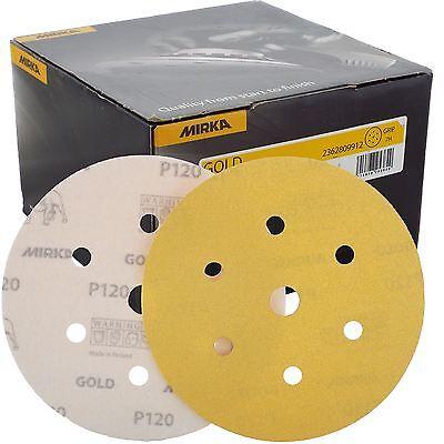 "Mirka Gold Hook-It DA Sanding Discs Ø 150mm 6"" 120 Grit 6+1 Hole Sander Pads"
