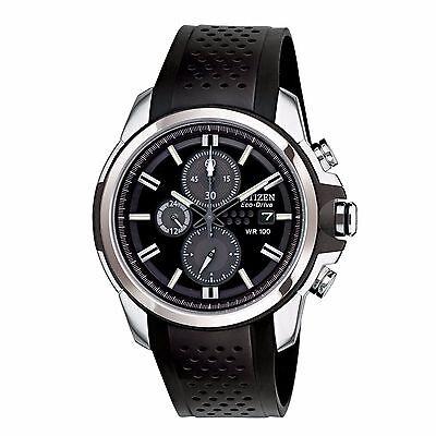 Citizen Eco-Drive Men's CA0420-07E AR Chronograph Black Poly Stap 44.5mm Watch