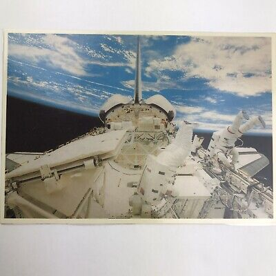 Vintage Postcard Astronauts Performing Extra Vehicular Activity In Space NASA