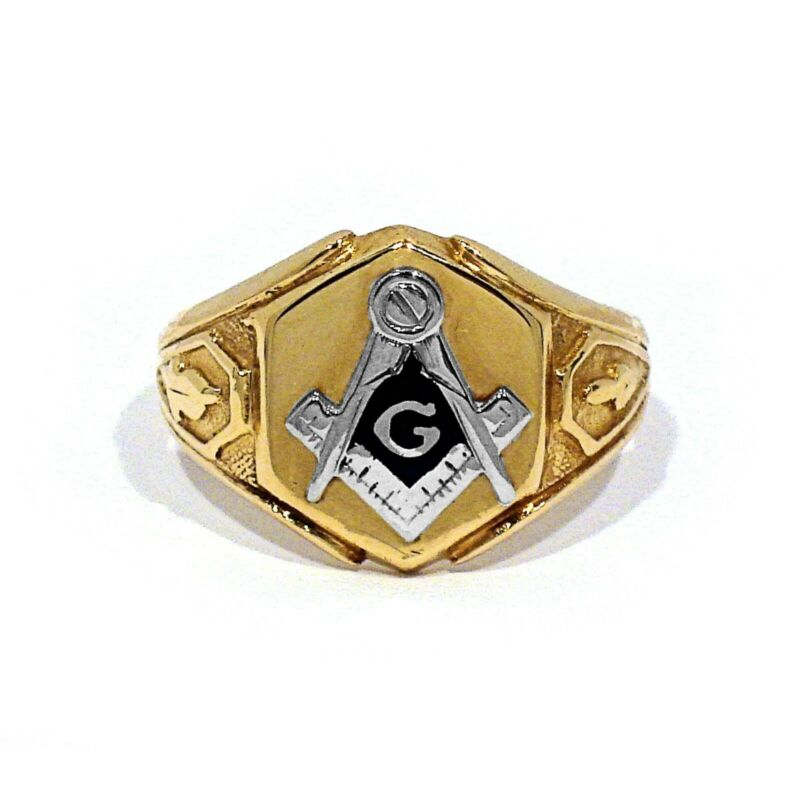SOLID 10K YELLOW GOLD ENAMEL DECORATED MASONIC RING ~ SIZE 9 1/2