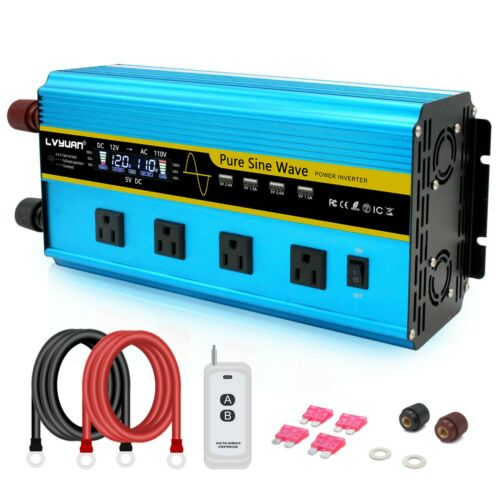 6000W Pure Sine Wave Power Inverter DC 12V to AC 120V with Remote Control LCD US