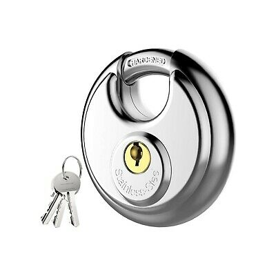 Keyed Padlock Stainless Steel Discus Lock Shackle For Sheds Storage Unit Etc
