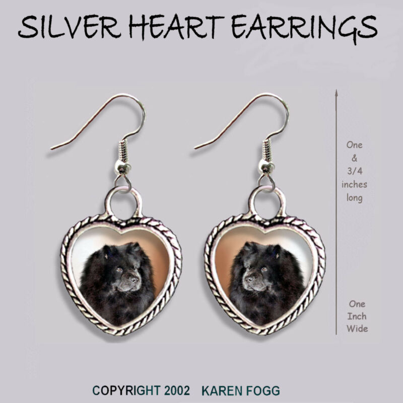 CHOW CHOW DOG Black - HEART EARRINGS Ornate Tibetan Silver
