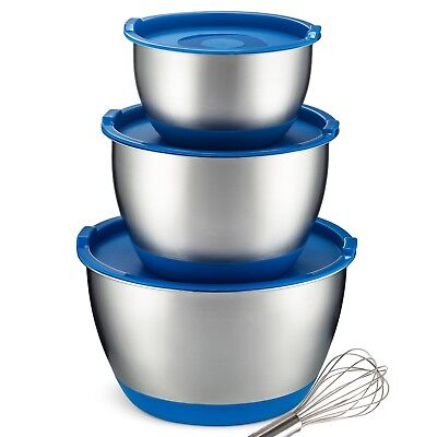 - Stainless Steel Mixing Bowls With Lids [3 Piece] Non-Slip Nesting Bowl Set