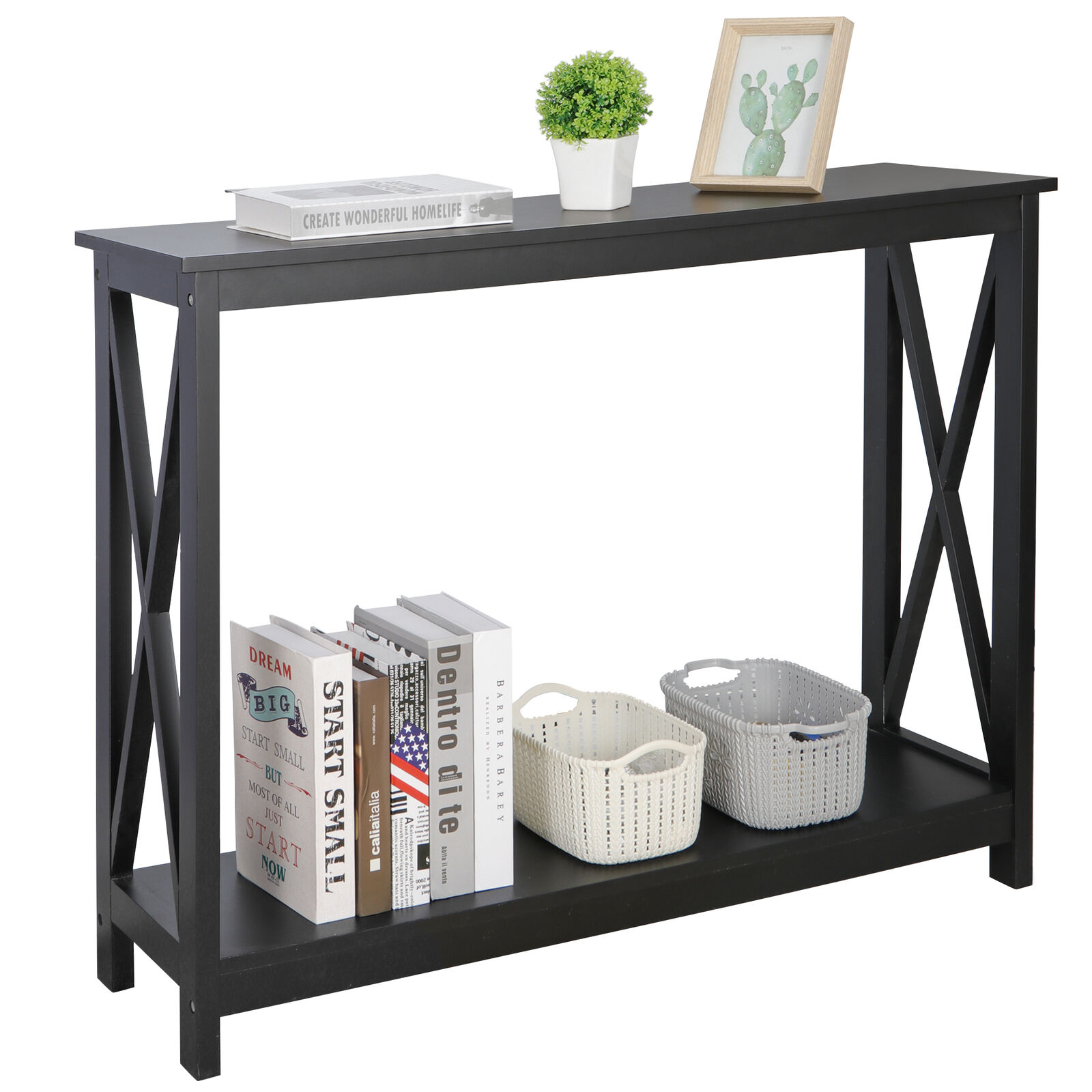 Console Table Modern Accent Side Stand Sofa Espresso Display Storage Shelf Furniture
