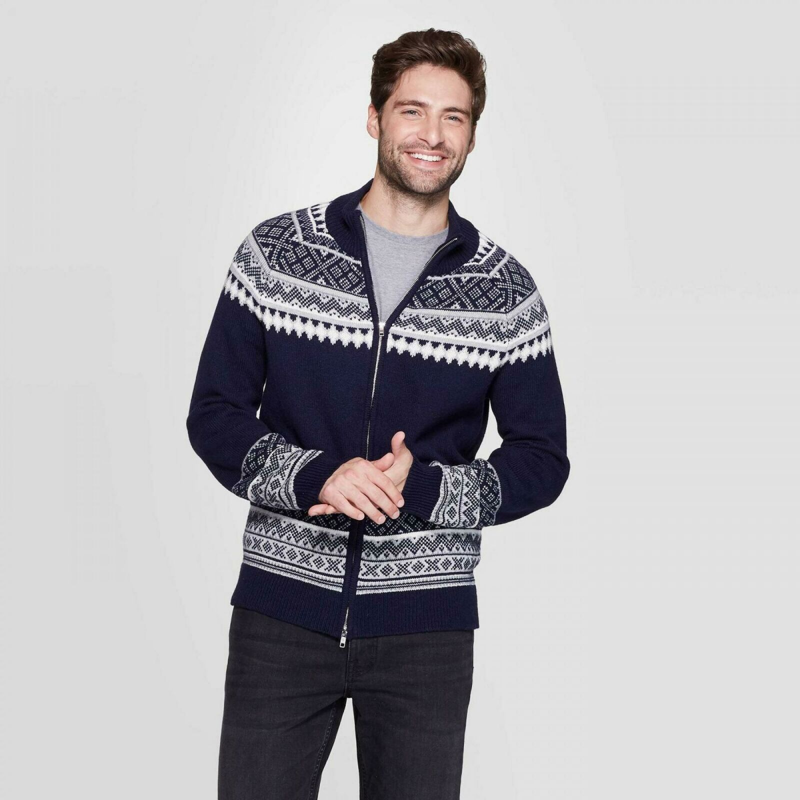 Details about Goodfellow & Co Jacquard Standard Fit Fairisle Holiday Sweater. Navy Small