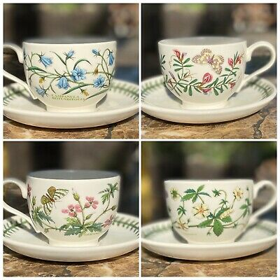 Lot of 4 VTG Portmeirion Circa 1818 Botanic Garden Ceramic Tea Cups & Saucers