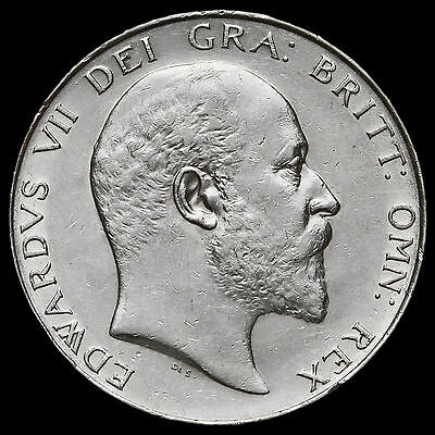 1904 Edward VII Silver Half Crown, Rare, Near EF