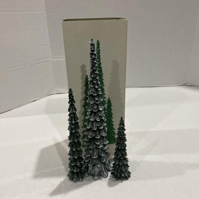 Department 56 Village Pencil Pines Trees Cold Cast Porcelain Set of 3 #5246-9