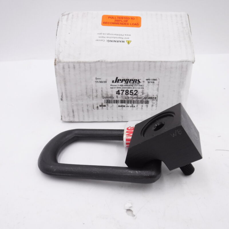 Jergens Side Swivel Hoist Ring M12x1.75 Thread Size 725Kg 47582