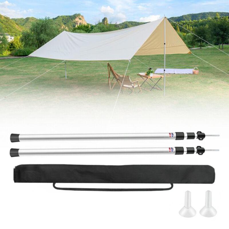 Tent Poles Adjustable Tarp Poles Set of 2 Telescoping Aluminum Rods Canopy Poles