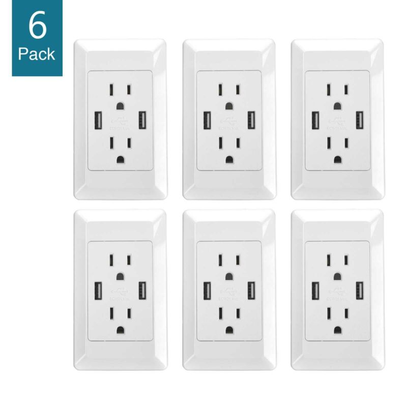 6 Packs Dual USB Port Wall Socket Charger AC Power Receptacle Outlet Plate Panel