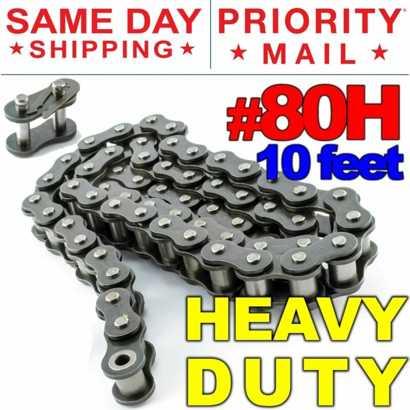 #80H Heavy Duty Roller Chain x 10 feet, Free Connecting Link + Same Day Shipping