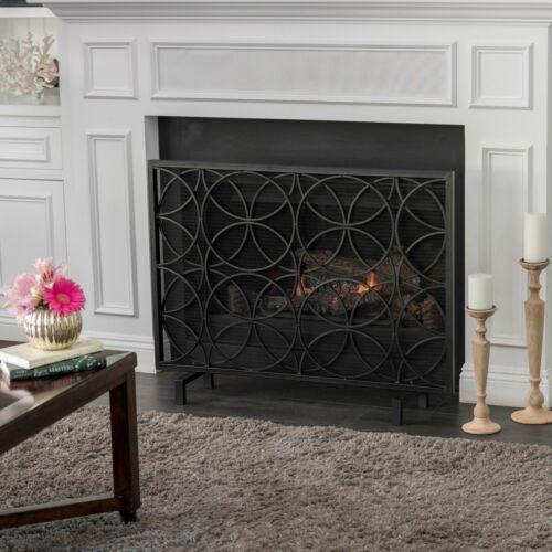 Veritas Modern Glam Single Panel Iron Fireplace Screen with