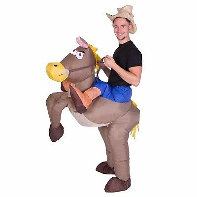 Adult Mens Womens Inflatable Cowboy Ride Me Carry On Costume Halloween One Size