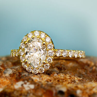 Natural 1.70 Ct Oval Cut Halo U-Setting Pave Diamond Engagement Ring H SI1 14k 3