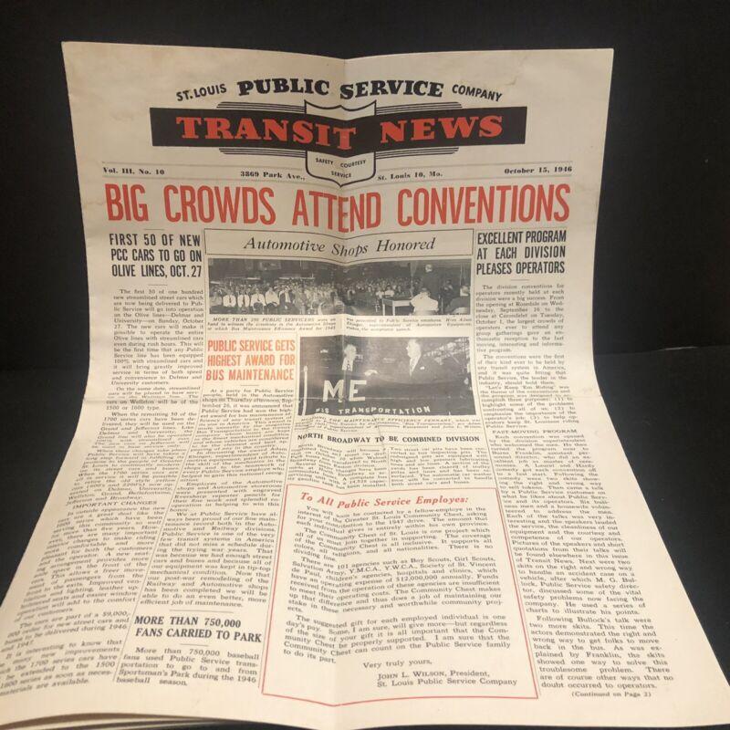 1946 St Louis Public Transit News Newsletter City Bus Street Car St Louis Mo
