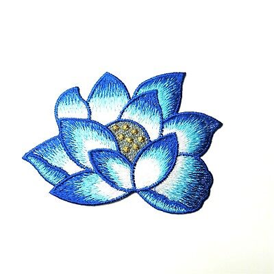 Blue & White Lotus Flower Patch, Sew-On Embroidered Motif Applique, Yoga Boho
