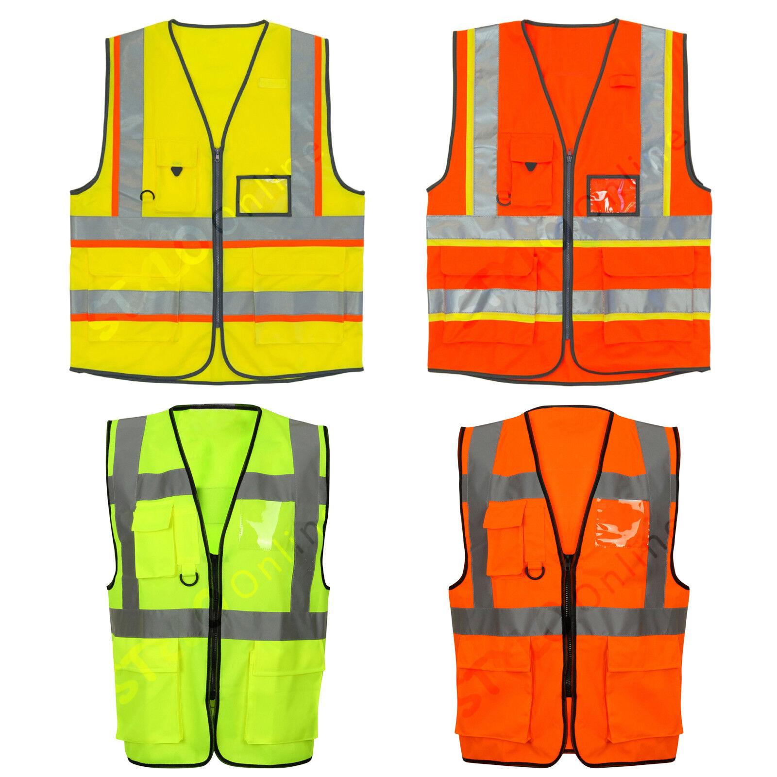 YOKO Executive Zip Up Hi Viz Vis Visibility Multi Pocket Work Wear Vest Orange