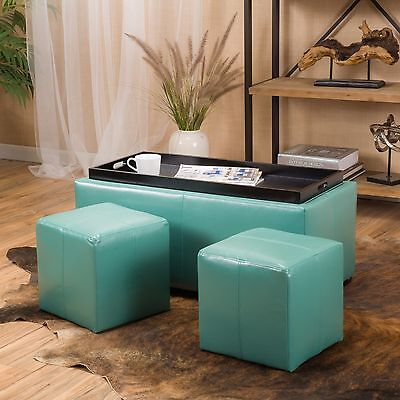 Contemporary Teal 3-piece Leather Tray Top Nested Storage Ottoman Bench