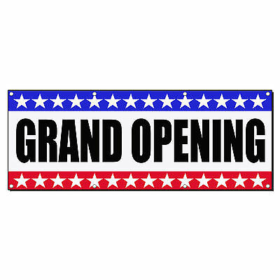 Grand Opening Business Sign Banner 4 Feet X 2 Feet W 4 Grommets