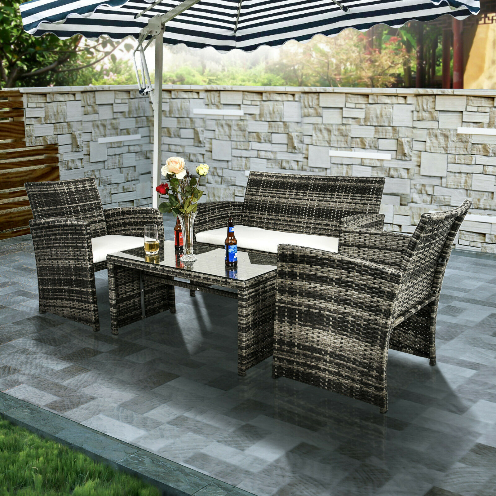 Garden Furniture - Patio Sofa Set 4PCS Outdoor Wicker Furniture Garden Rattan Sectional Set Cushion