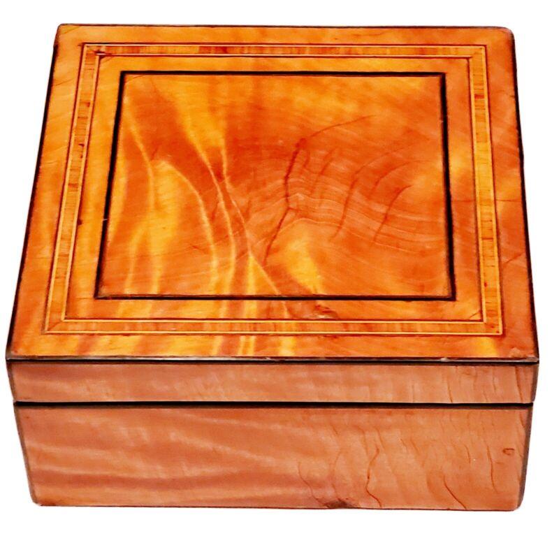 Regency Highly Figured Satinwood, Ebony & Tulipwood Inlaid Box