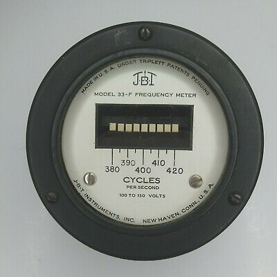 J.b.t. 33-f Frequency Meter 100-150 Volts Panel Mount Vintage