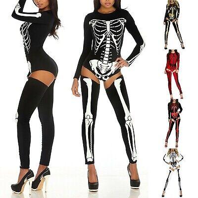 Women Halloween Skeleton Skull Jumpsuit Party Costumes Cosplay Catsuit Bodysuit