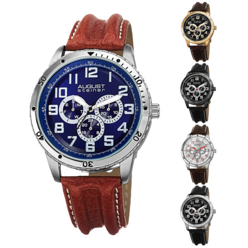 Men's August Steiner AS8116 Quartz Multifunction Genuine Leather Strap Watch