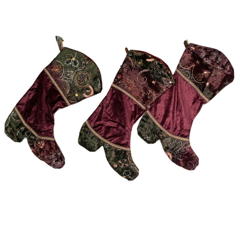Lot 3 Burgundy Green Velvet Womens Boot Christmas Stockings Embroidered Beaded