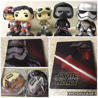 Funko Pop Star Wars The Force Awakens Blu Ray Steelbook Rey Kylo Ren Poe Phasma