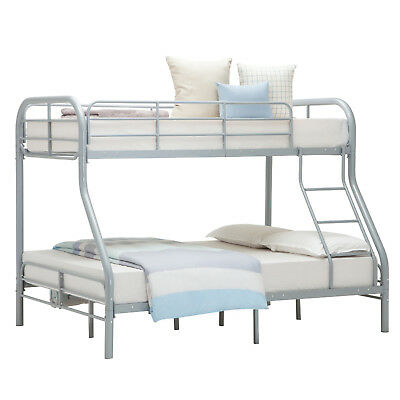 Metal Twin over Full Bunk Beds Kids Teens Dorm Bedroom Sliver Furniture Ladder