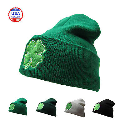 St. Patricks Day 4 Leaf Clover Shamrock Knit Beanie Hat