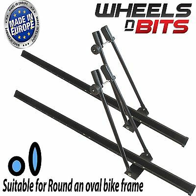 2x UNIVERSAL CAR ROOF BICYCLE BIKE CARRIER UPRIGHT MOUNTED CLAMPING CYCLE RACK