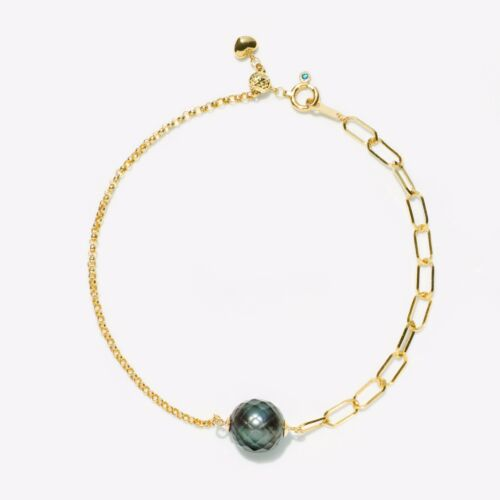 """Faceted 9.2MM Black Tahitian Saltwater Pearl Bracelet 18K Yellow Gold Chain 7.5"""""""