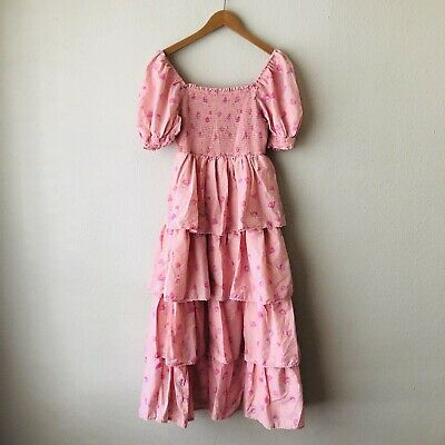 Love Shack Fancy Women's Pink Floral Smocked Prairie Dress 100% Cotton Size XS