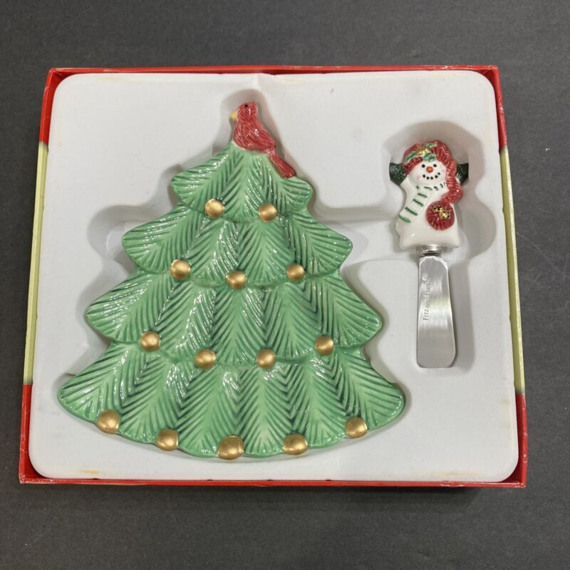 2006 Fitz and Floyd Christmas Winter Play Cheese Snack Plate And Spreader Boxed