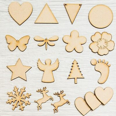 Wooden MDF Assorted Shapes Hearts, Stars, Triangles, Circles Baby Feet Christmas